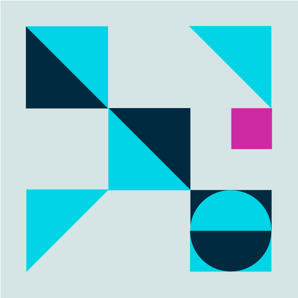 Graphic with light blue background and triangles and squares in acid blue, dark blue, and magenta
