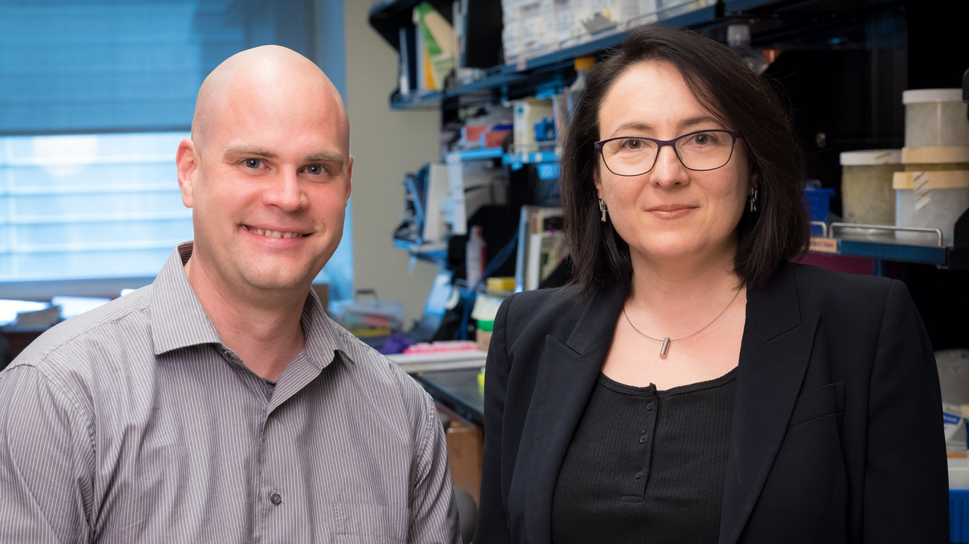 Gladstone scientists Katerina Akassoglou (right) and Mark Petersen (left)