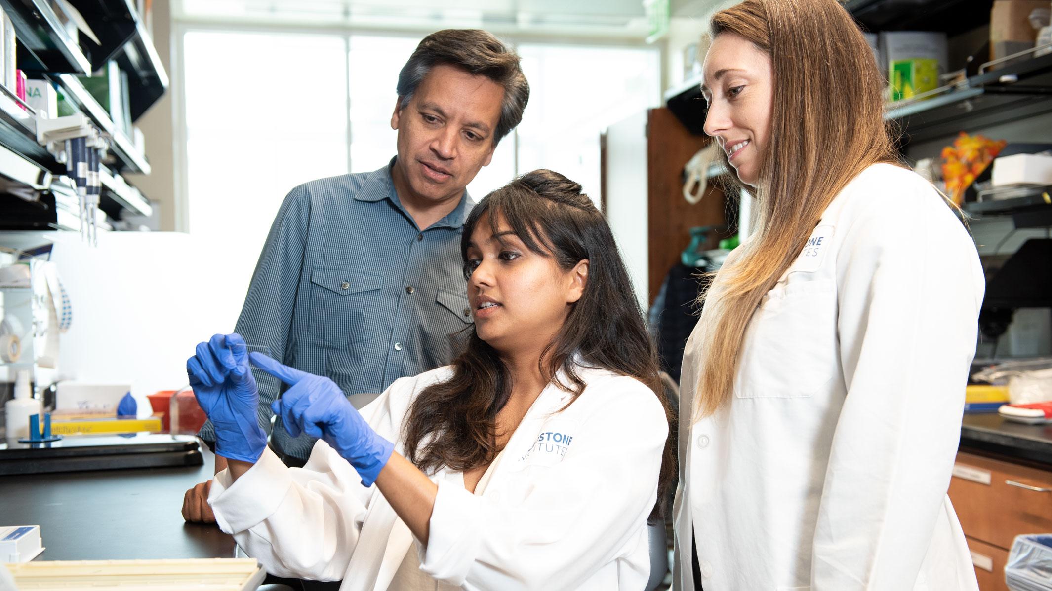 Gladstone scientists Deepak Srivastava, Yvanka DeSoysa, and Casey Gifford
