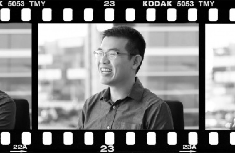 Film strip with three images of Andrew Chang