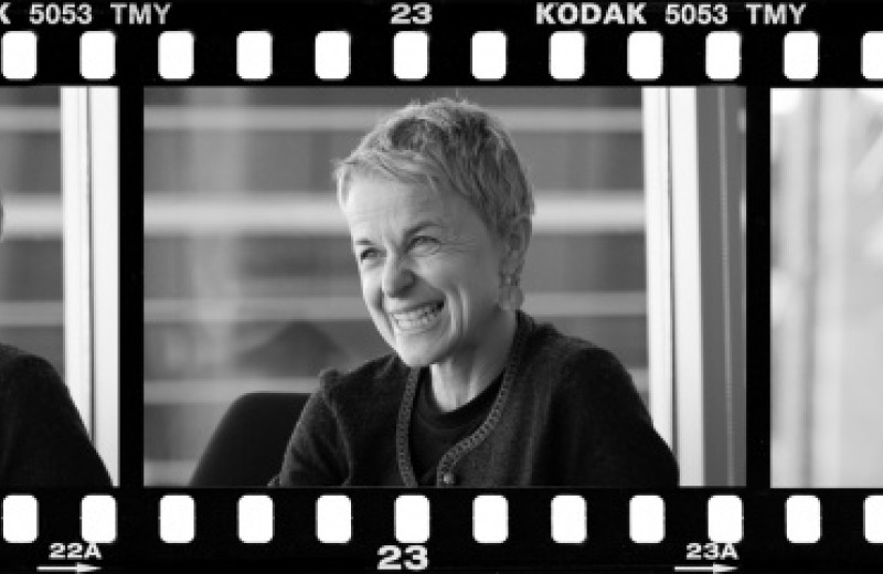 Film strip of three photos featuring Melanie Ott