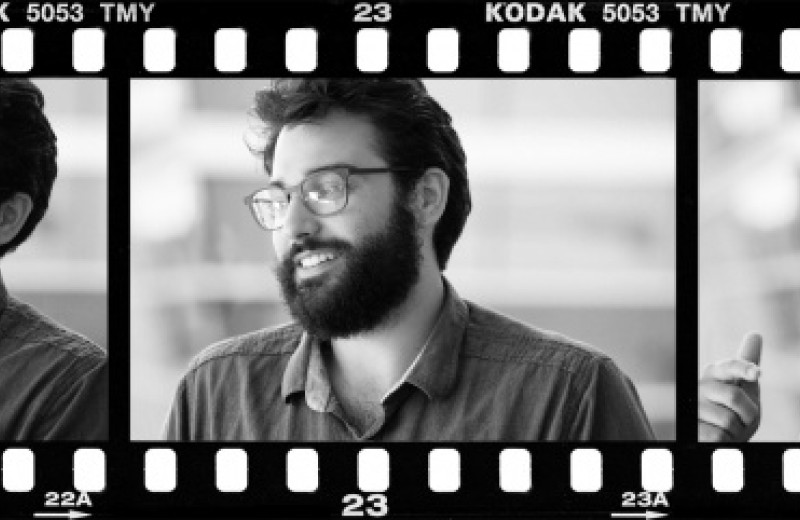 Film strip of three images featuring Ramsey Najm