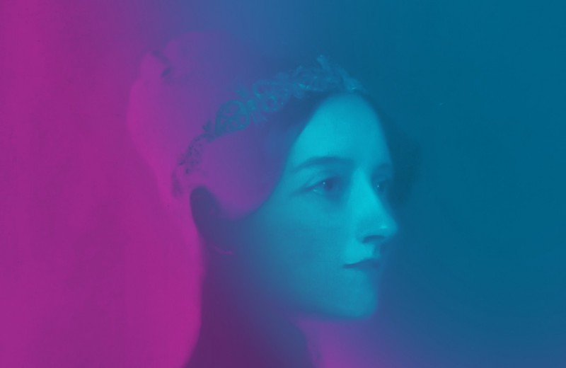 Portrait of Ada Lovelace in purple and blue