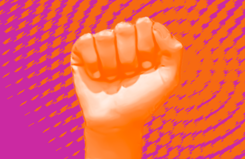 Fist raised with Amplified graphic behind