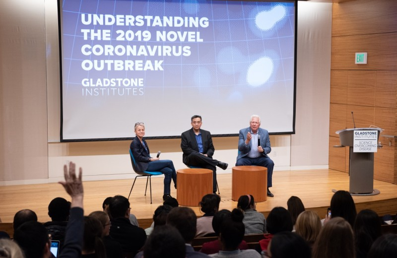 Melanie Ott, Charles Chiu, and Warner Greene answer questions at a public briefing about Coronavirus