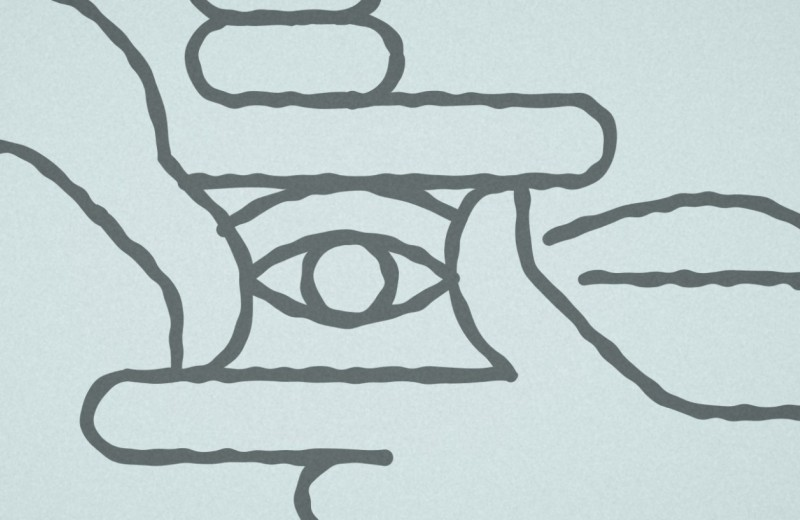 Sketch of hands framing an eye
