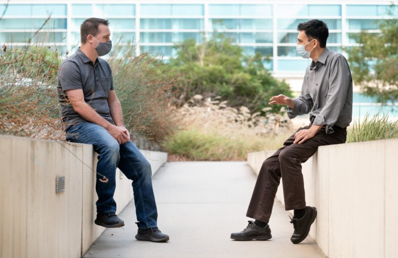 Todd McDevitt and Ken Nakamura pictured conversing at Gladstone