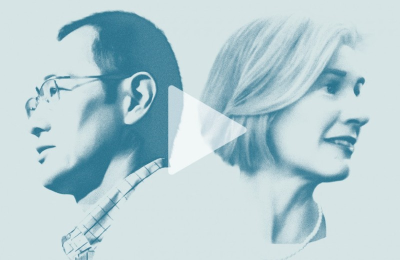 Illustrations of Shinya Yamanaka and Jennifer Doudna facing away from each other with a play button overlaid.