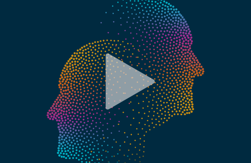 Graphic of two face profiles looking away from each other in multi color with play button overlayed