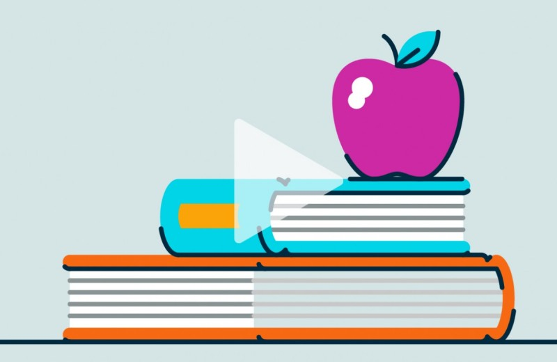 Graphic of books with an apple on top