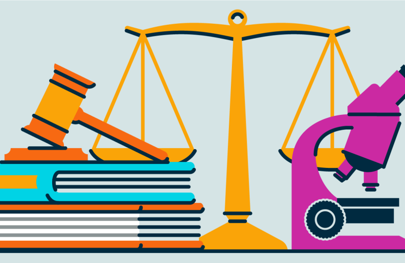 Graphic with a scale, gavel, books, and microscope